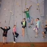 Kids on the local climbing wall in Oamaru